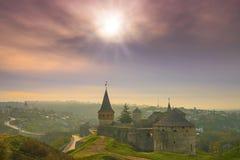 Panoramiczny widok Kamianets-Podilskyi miasteczko Zdjęcie Royalty Free