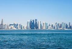 Panoramiczny widok Katarska metropolia nowoczesna architektura drapacz chmur obraz royalty free
