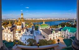Panoramiczny widok Kijowski Pechersk Lavra, Ortodoksalny monaster, Kijów, Ukraina obraz stock