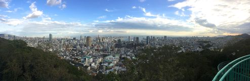 Panoramiczny widok Kobe miasto od Wenus mostu w Kobe, Japonia fotografia royalty free