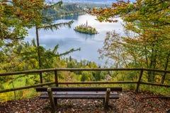 Panoramiczny widok Krwawiący jezioro, Slovenia fotografia royalty free