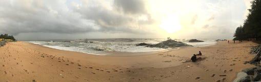 Panoramiczny widok Kundapura plaża Fotografia Royalty Free