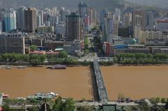 Panoramiczny widok Lanzhou, Chiny obraz stock