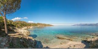 Panoramiczny widok linia brzegowa pustyni des Agriates w Corsica Obrazy Royalty Free