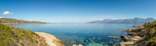 Panoramiczny widok linia brzegowa pustyni des Agriates w Corsica Fotografia Stock
