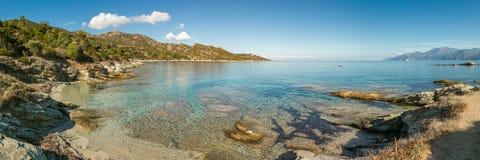 Panoramiczny widok linia brzegowa pustyni des Agriates w Corsica Obraz Royalty Free