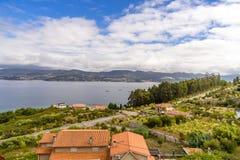 Panoramiczny widok linia brzegowa w Vigo, Galicia Hiszpania Zdjęcie Royalty Free