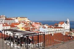 Panoramiczny widok Lisbon architektura od Largo Portas W ten sposób Zdjęcia Stock