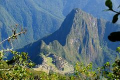 Panoramiczny widok Mach Picchu od Machu Picchu góry Fotografia Royalty Free