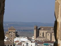 Panoramiczny widok miasto Antequera w Hiszpania z kościół zdjęcia stock
