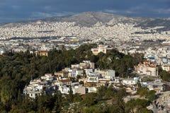 Panoramiczny widok miasto Ateny od akropolu, Attica, Grecja fotografia royalty free