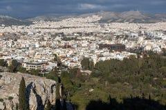 Panoramiczny widok miasto Ateny od akropolu, Attica, Grecja zdjęcie royalty free