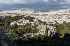 Panoramiczny widok miasto Ateny od akropolu, Attica, Grecja obraz stock