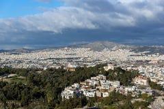 Panoramiczny widok miasto Ateny od akropolu, Attica, Grecja zdjęcie stock