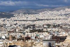 Panoramiczny widok miasto Ateny od akropolu, Attica, Grecja fotografia stock