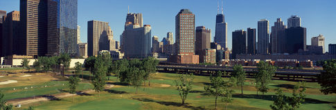 Panoramiczny widok miasto linia horyzontu od metro golfa Illinois centrum, IL Obraz Royalty Free