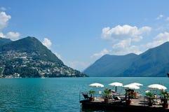 Panoramiczny widok miasto Lugano Zdjęcie Stock