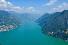 Panoramiczny widok miasto Lugano Obrazy Royalty Free