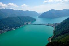 Panoramiczny widok miasto Lugano Obraz Stock