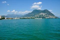 Panoramiczny widok miasto Lugano Fotografia Royalty Free