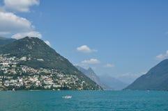 Panoramiczny widok miasto Lugano Zdjęcia Stock