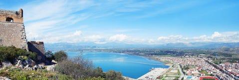 Panoramiczny widok miasto Navplio Obrazy Stock