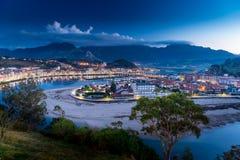 Panoramiczny widok miasto Ribadesella Zdjęcia Royalty Free