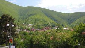 Panoramiczny widok miasto Sheki zdjęcia royalty free