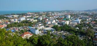Panoramiczny widok miasto Songkhla od blaszecznicy Kuan Zdjęcie Stock
