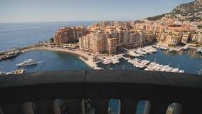Panoramiczny widok Monte, Carlo schronienie w Monaco - Wideo w ruchu zdjęcie wideo
