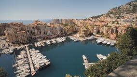 Panoramiczny widok Monte, Carlo schronienie w Monaco - Wideo w ruchu zbiory wideo