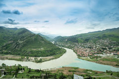 Panoramiczny widok Mtskheta od Jvari monasteru Gruzja Obrazy Stock