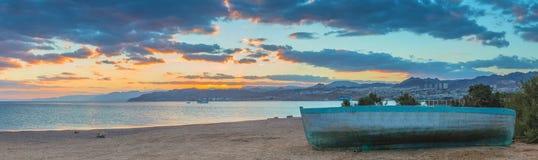 Panoramiczny widok na Aqaba zatoce blisko Eilat Obraz Royalty Free