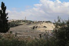 Panoramiczny widok na g?rze oliwki, rosyjski ko?ci?? prawos?awny Ascencion, Jerozolima, Izrael zdjęcia stock