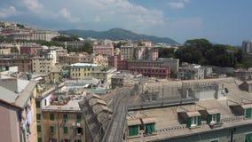 Panoramiczny widok na genuy mieście zbiory wideo