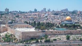 Panoramiczny widok na Jerozolimskim timelapse z kopułą skała od góry oliwki zdjęcie wideo