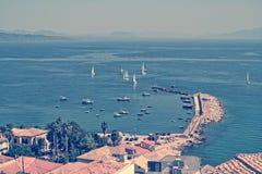 Panoramiczny widok na Koroni wiosce, Grecja Obrazy Royalty Free