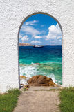 Panoramiczny widok na mykonos wyspie Fotografia Royalty Free