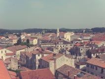 Panoramiczny widok na Porec w Istria, Chorwacja; zatarty, retro styl, obrazy royalty free