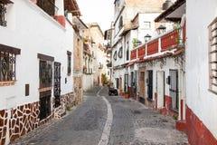 Panoramiczny widok na Texco tradycyjnym kolonialnym mieście w Meksyk fotografia stock