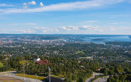 Panoramiczny widok na w centrum Oslo Norwegia Fotografia Stock