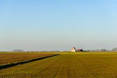Panoramiczny widok na wiejskim krajobrazie w nowostworzonym polderze wewnątrz obraz royalty free