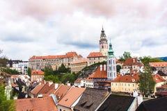 Panoramiczny widok nad miasteczkiem cesky Krumlov zdjęcia royalty free