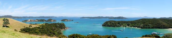 Panoramiczny widok nad Otehei zatoką i zatoką wyspy, Nowa Zelandia, Zdjęcia Stock