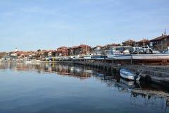 PANORAMICZNY widok Nessebar, antyczny miasteczko na wybrzeżu Czarny morze NESSEBAR BUŁGARIA, MARZEC - 7, 2016 - Obraz Stock