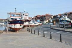 PANORAMICZNY widok Nessebar, antyczny miasteczko na wybrzeżu Czarny morze NESSEBAR BUŁGARIA, MARZEC - 7, 2016 - Obraz Royalty Free