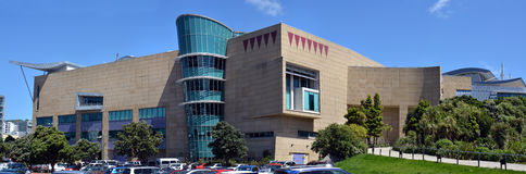 Panoramiczny widok Nowa Zelandia Te tata Tongarewa muzeum Zdjęcie Stock