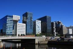 Panoramiczny widok Nowożytni budynki w Oslo, Norwegia fotografia stock