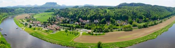 Panoramiczny widok od bastionu Elbe Zdjęcie Stock