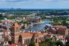 Panoramiczny widok od Gdańskiej katedry Świątobliwa dziewica, Polska Obraz Stock